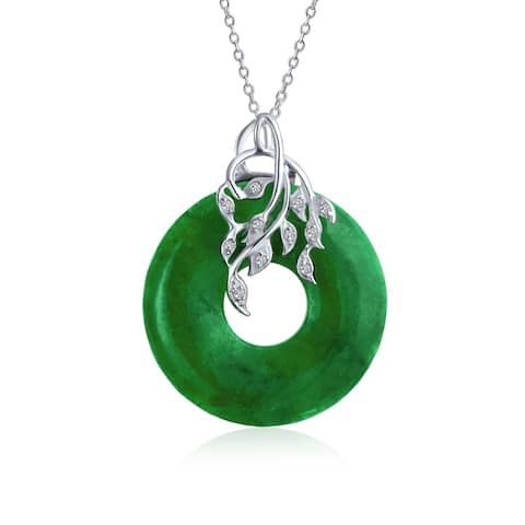 Circle Disc Green Jade Leaf Leaves Pendant Sterling Silver Necklace