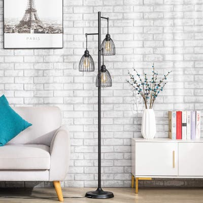 """CO-Z 66"""" 3-Light Industrial Floor Lamp with Hanging Caged Shades"""