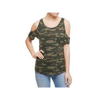 Sanctuary Womens Lou Casual Top Camouflage Cold Shoulder