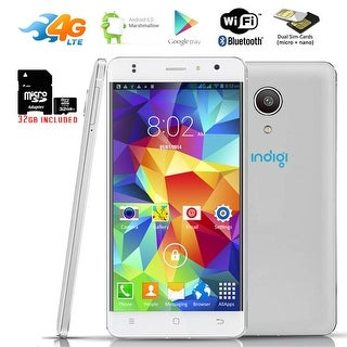 "Indigi GSM UNLOCKED 4G LTE Smart Phone Android 6.0 2Sim 4Core 5.0"" LCD + 32gb microSD - White"
