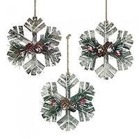 SWM 10018110 Christmas Collection Rustic Snowflake Ornament Set