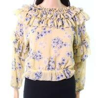Blush Noir Womens Medium Sheer Floral-Print Blouse