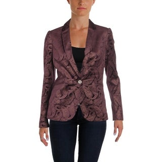 Tommy Hilfiger Womens One-Button Blazer Velvet Day To Night