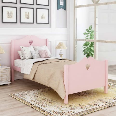 Twin Platform Bed with Wood Slat Support and Headboard and Footboard