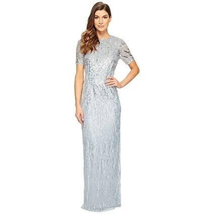 Adrianna Papell Sheer Short Sleeve Beaded Dress Slit Skirt, Blue Heather, 10