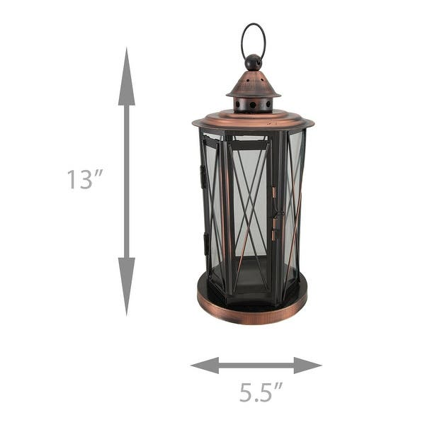 Polished Antique Copper Finish Metal And Glass Candle Lantern Overstock 16941077