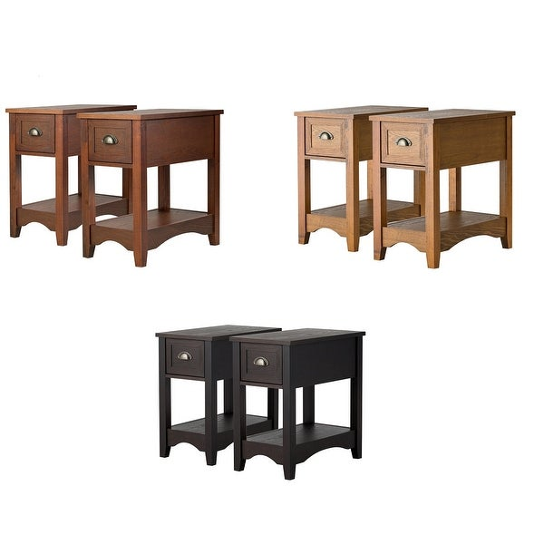 Gymax Set of 2 Contemporary Side End Table Compact Table w/ Drawer Nightstand Espresso/Tawny/Walnut