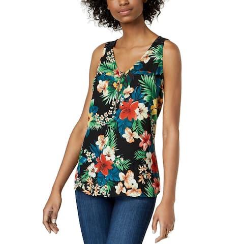 BCX Women's Black Size XXS Floral Print Zip Front Lace Tank Cami Top
