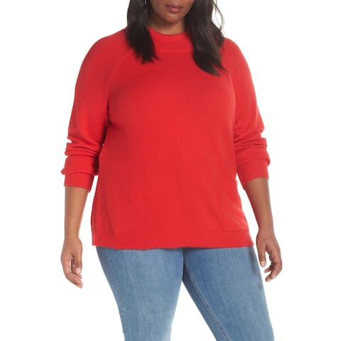 Halogen Womens Sweater Red Size 2X Plus Mock Neck Ribbed Trim Stretch