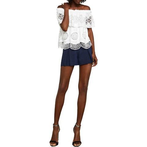 BCBG Max Azria Womens Shorts Linen Pinstripe