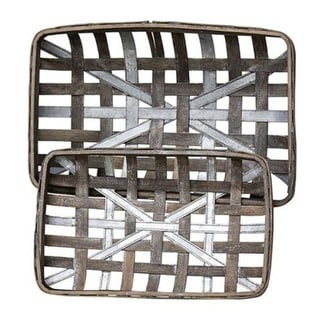 2/Set Gray Wash Rectangle Tobacco Baskets w/Metal Strips