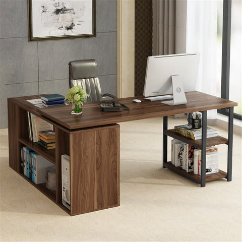 L-Shaped Computer Desk with Bookcase &File Cabinet Reversible Executive Office Desk
