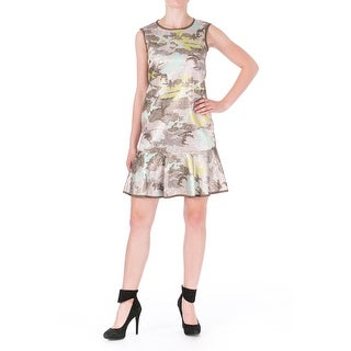 Cynthia Rowley Womens Flounce Dress Metallic Shift