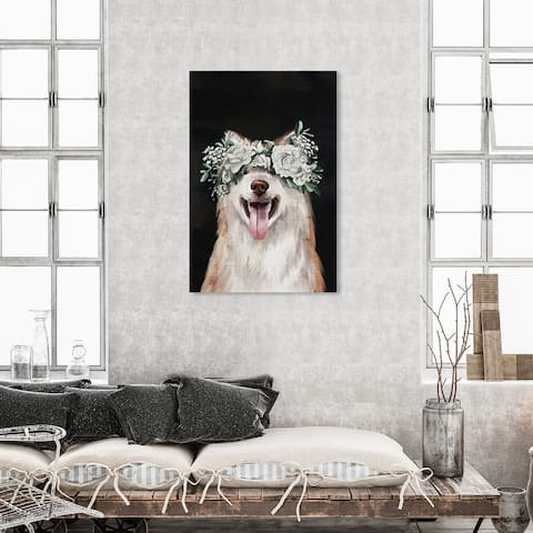 Oliver Gal 'Gorgeous Floral Dog' Animals Wall Art Canvas Print Dogs and Puppies - White, Black