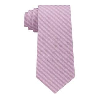 Calvin Klein Mens Mini Soft Neck Tie Silk Check Print - o/s
