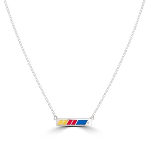 NASCAR Race Stripe Diamond Enamel Bar Pendant Necklace In Sterling Silver