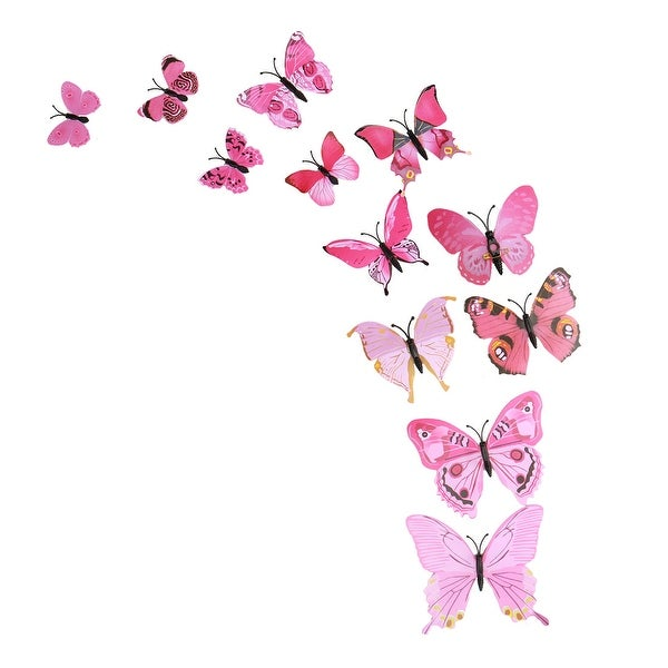 3D Butterfly Vivid Decal Sticker with Pin for Wedding Party Decor Pink