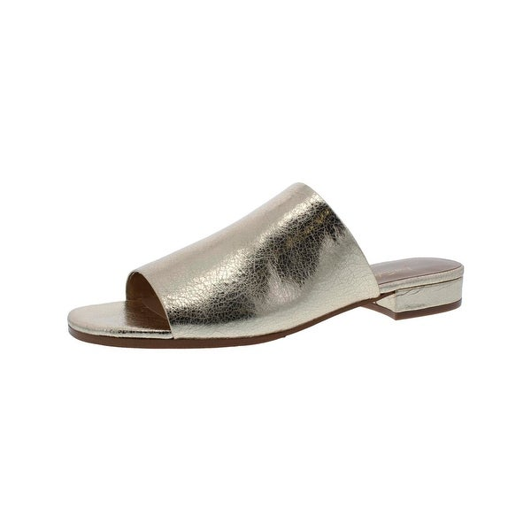 424 Fifth Womens Yeva1 Slide Sandals Metallic Square Toe