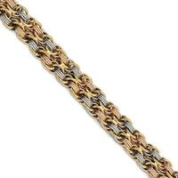 Italian 14k Tri-Color Gold Polished & Textured Fancy Link Bracelet - 7.75 inches