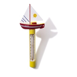 HydroTools Red, Yellow and White Sail Boat Thermometer for Swimming Pools or Spas 9.5""
