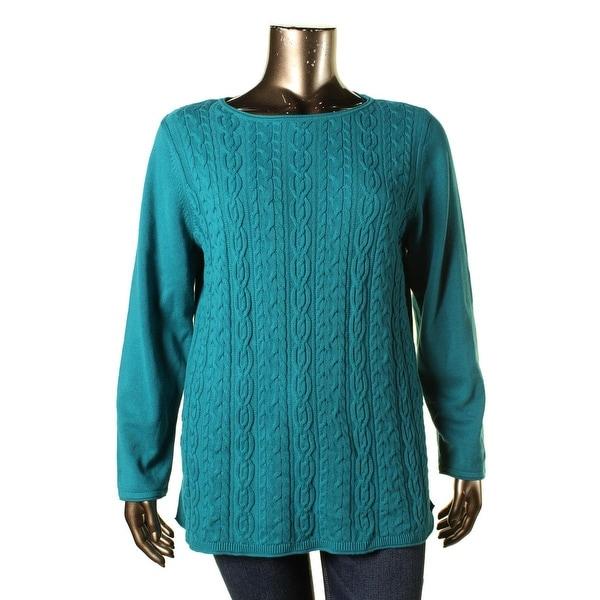 Karen Scott Womens Plus Pullover Sweater Cable Knit Raw Hem