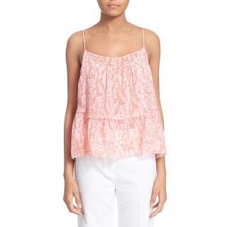 Diane von Furstenberg Pink Womens Size Medium M Layered Silk Blouse