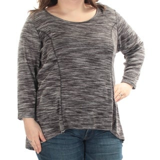 STYLE & COMPANY $42 Womens 1029 Gray Heathered Lace-up Back Top 2X Plus B+B