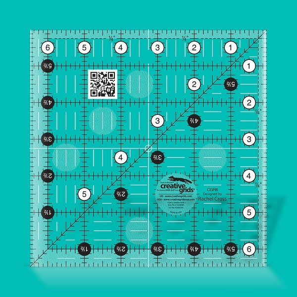"""Creative Grids Quilt Ruler 6-1/2in Square - 6.5"""" x 6.5"""" x 0.25"""". Opens flyout."""