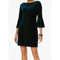 Vince Camuto Green Womens Size 14 Burnout Velvet Sheath Dress