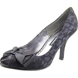 Chinese Laundry Julian Women  Peep-Toe Canvas Black Heels