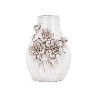 """IMAX Home 25625  Bloom 12 1/4"""" Tall Ceramic Vase - White"""