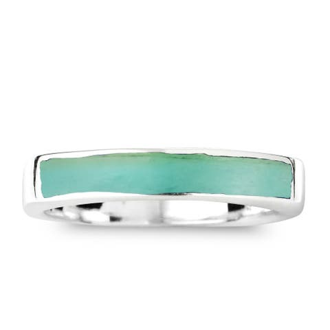 Handmade Rectangular Bar Stone Inlay Sterling Silver Ring (Thailand)