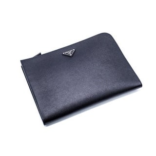 Prada Black Leather Saffiano Large Pouch Laptop Case