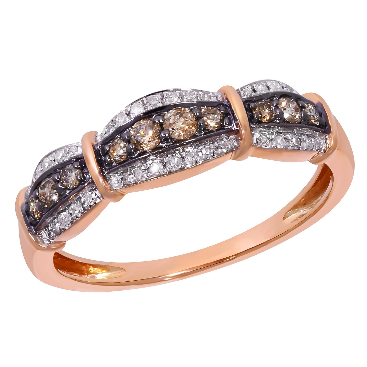 Prism Jewel 0.31ct Round Cut Brown Color Diamond with Diamond Anniversary Ring - White G-H - Thumbnail 0