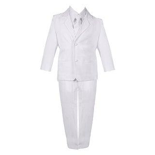 Baby Boys White 5 Piece Classic Vest Jacket Pants Special Occasion Suit