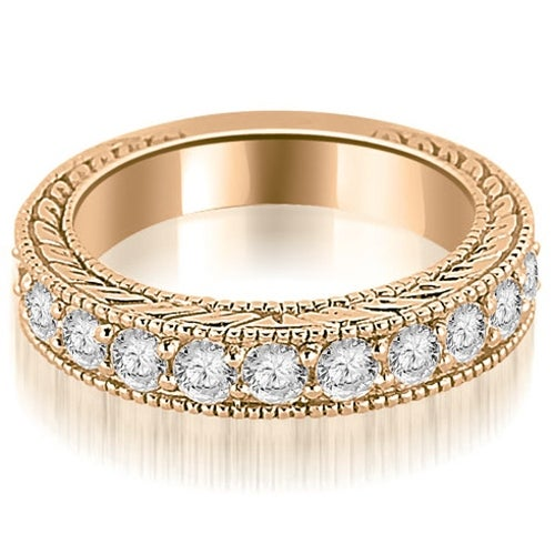 1.10 cttw. 14K Rose Gold Antique Round Cut Diamond Wedding Band