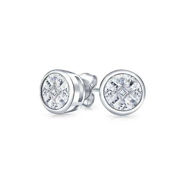 4e9061108 Shop .75 CTW Invisible Cut CZ Checkboard Cubic Zirconia Round Bezel Set Stud  Earrings For Men Women 925 Sterling Silver - On Sale - Free Shipping On  Orders ...