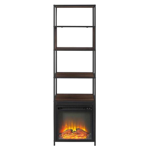 "Delacora WE-BDF70FPJER Columbus 20"" Wide Four Shelf Laminate, Wood and Metal Utility Shelf with Fireplace"