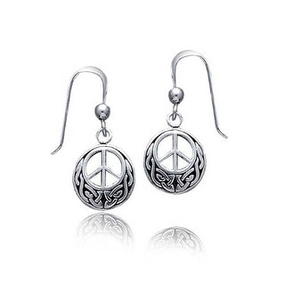 Bling Jewelry Peace Sign Celtic Knotwork Drop Earrings 925 Sterling Silver