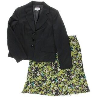 Le Suit Womens Torino Chiffon Notch Collar Skirt Suit