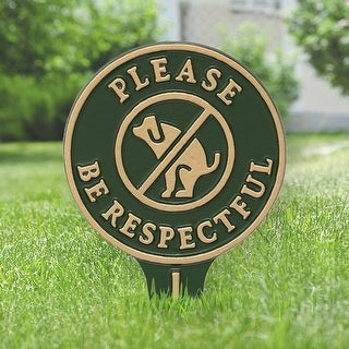 Whitehall Please Be Respectful No Poop Dog Cast Aluminum Yard Sign (Green/Gold)