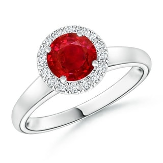 Angara Classic Round Ruby and Diamond Halo Ring - White
