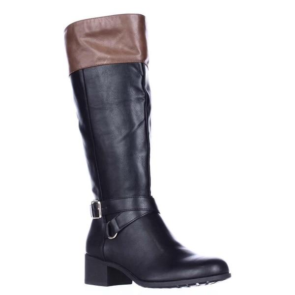 SC35 Vedaa Wide Calf Riding Boots, Black/Barrel