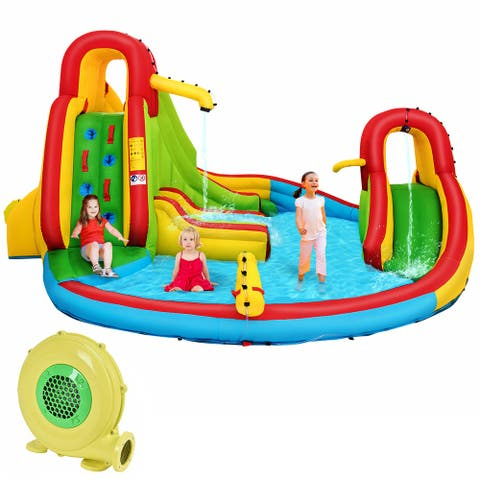 Kids Inflatable Water Slide Bounce Park Splash Pool w/Water Cannon &