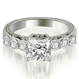 1.25 cttw. 14K White Gold Princess and Round Cut Diamond Engagement Ring (More options available)