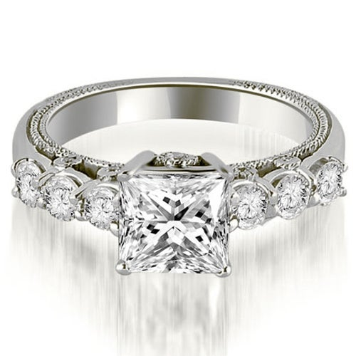 1.50 cttw. 14K White Gold Princess and Round Cut Diamond Engagement Ring