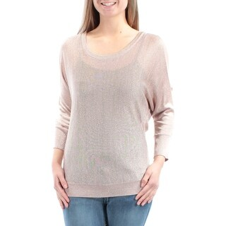 Womens Gold Speckle Long Sleeve Jewel Neck Top Size L