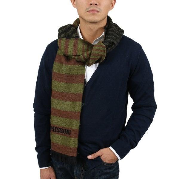 Missoni SC12WMU5078 0004 Green/Brown Wool Blend Scarf - 14.75 - 71