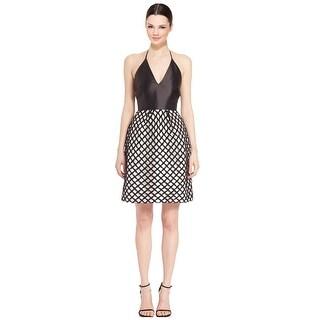 ML Monique Lhuillier Satin Halter Cutout Lace Cocktail Dress - 0