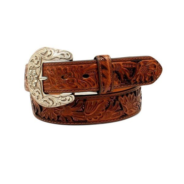 Nocona Western Belt Womens Leather Underlays Laced Edges